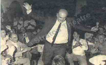 Andreas Papandreou,  the beloved Prime Minister of the Greeks, 1981-1995, dancing a Zembekiko in style of Alexis Zorbas. Thryllic event on the media by that times ...( not even color tv did not exist)