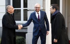 Belgian PM Michel welcomes Greek Finance Minister Varoufakis and Prime Minister Tsipras in Brussels