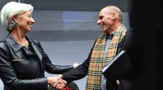 Chrisitine Langarde and Yianis Varoufakis, meeting for first time at the Eurogroup meeting in Brussels