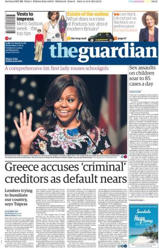 Cover Page Greece by Guardian June 17, 2015