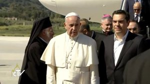 Tsipras welcoming the Pontifex